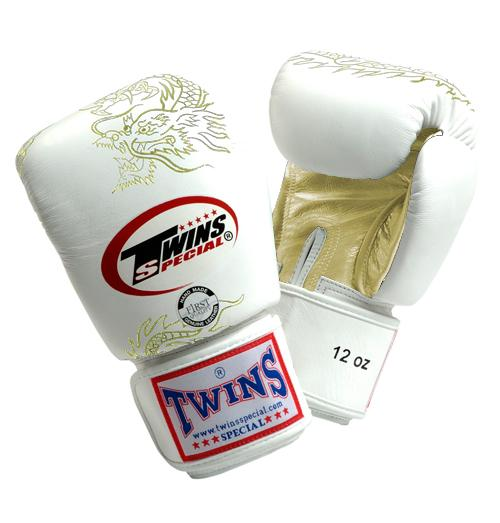 Twins Dragon Boxing Gloves- White Gold - Premium Leather