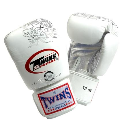 Twins Dragon Boxing Gloves- White Silver - Premium Leather