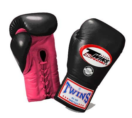 Twins Boxing Gloves - Dual Color -Pink Black - Premium Leather w/ Laceup