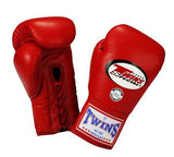 Twins Boxing Gloves - Red - Premium Leather w/ Laceup