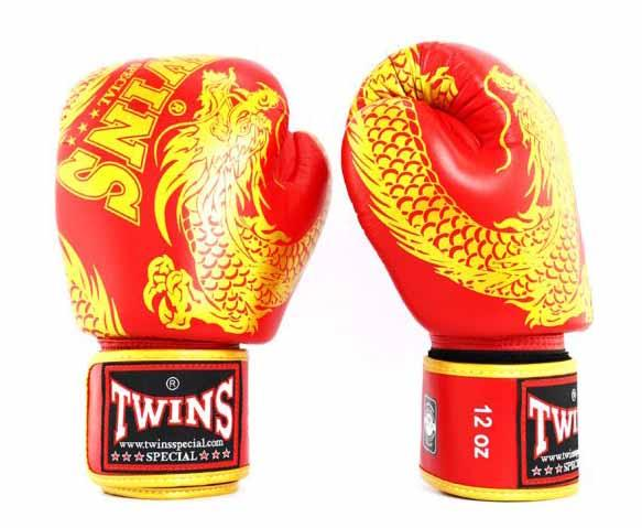 Twins Gold-Red Signature Boxing Gloves - Velcro Wrist