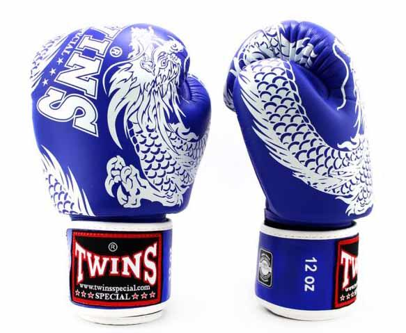 Twins White-Blue Signature Boxing Gloves - Velcro Wrist