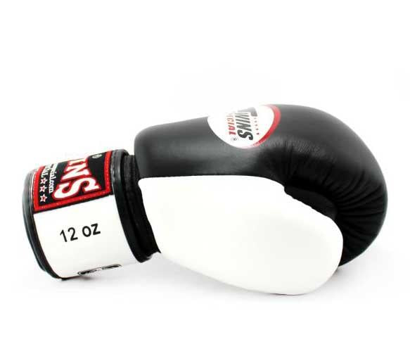 Twins White-Black Dual Color Boxing Gloves - Velcro Wrist