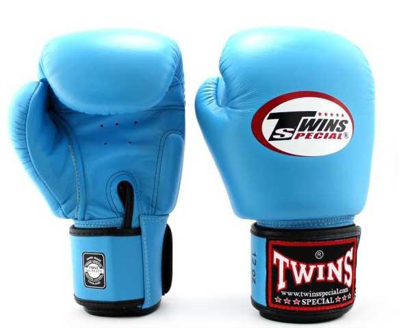 Light Blue Twins Boxing Gloves - Velcro Wrist