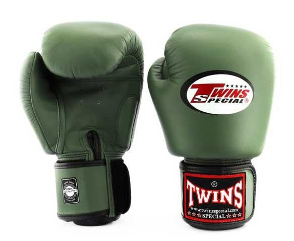 Olive Twins Boxing Gloves - Velcro Wrist