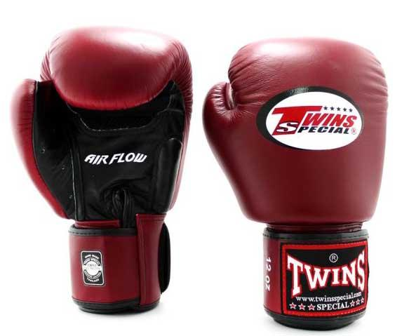 Twins Black-Maroon Dual Color Boxing Gloves - Velcro Wrist