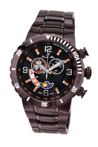 Porsamo Bleu Las Vegas luxury men's stainless steel watch, interchangeable bezels, dark brown 111ELVS