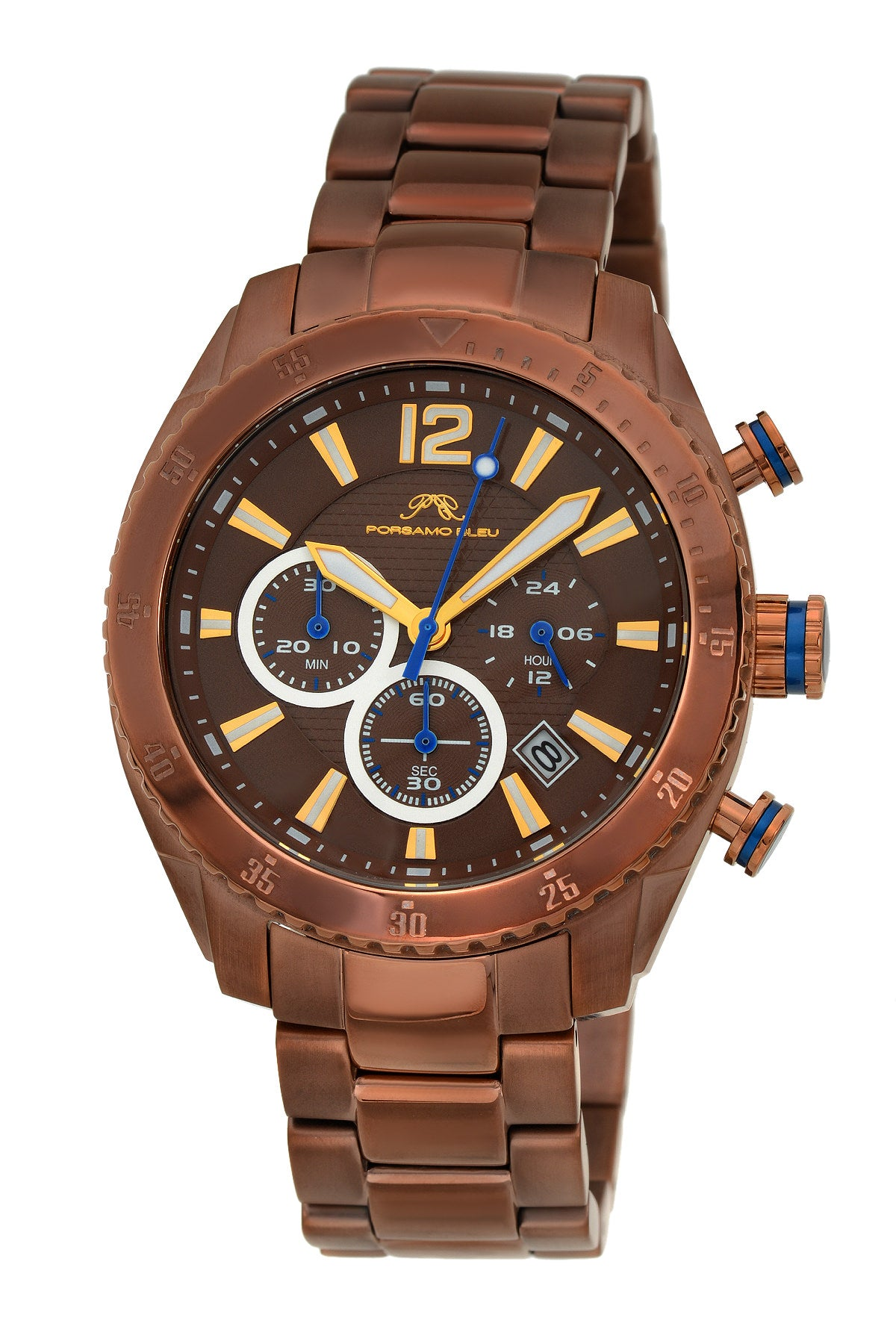 Porsamo Bleu Taylor luxury chronograph men's stainless steel watch, brown 621ETAS