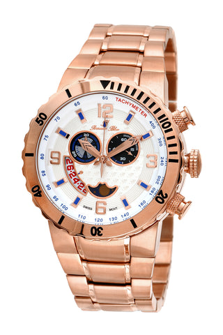 Porsamo Bleu Las Vegas luxury men's stainless steel watch, interchangeable bezels, rose 111BLVS