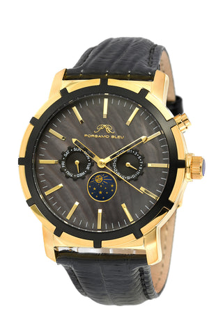 Porsamo Bleu NYC Moon luxury men's watch, genuine leather band, gold, black 057BNYL