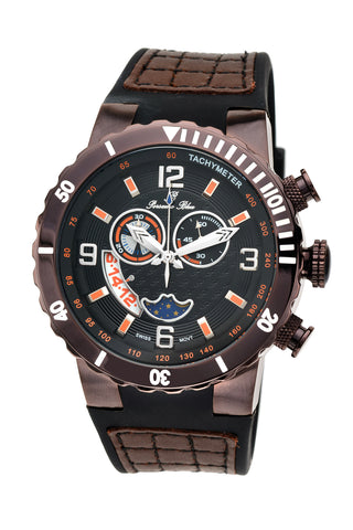 Porsamo Bleu Las Vegas luxury men's watch, silicone strap, interchangeable bezels, brown 114ELVR