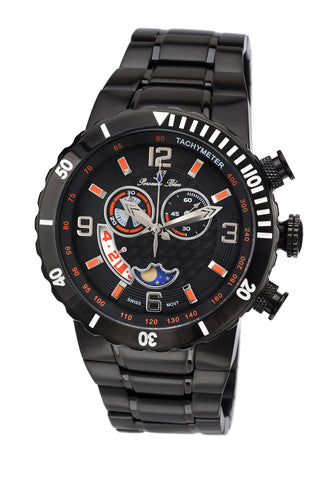 Porsamo Bleu Las Vegas luxury men's stainless steel watch, interchangeable bezels, black 111DLVS