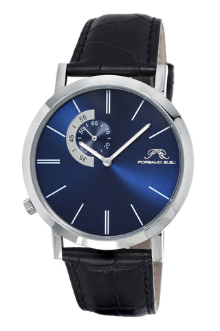 Porsamo Bleu Parker luxury men's watch, genuine leather band, silver, black, blue 832CPAL