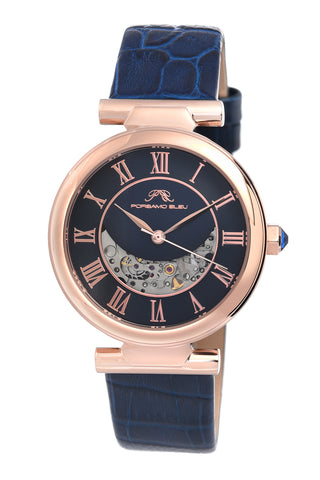 Porsamo Bleu Coco luxury automatic women's watch, genuine leather band, rose, blue 812CCOL