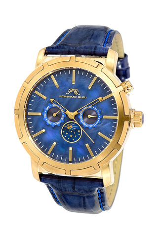Porsamo Bleu NYC Moon luxury men's watch, genuine leather band, gold, blue 058BNYL