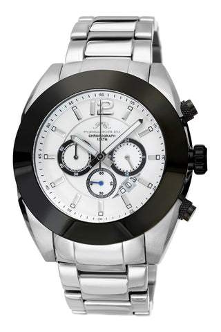 Porsamo Bleu Pascal luxury chronograph men's stainless steel watch, silver, black 261CPAS