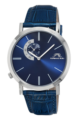 Porsamo Bleu Parker luxury men's watch, genuine leather band, silver, blue 832BPAL