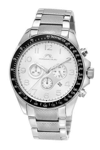 Porsamo Bleu Wolfgang luxury  chronograph men's stainless steel watch, silver 572AWOR