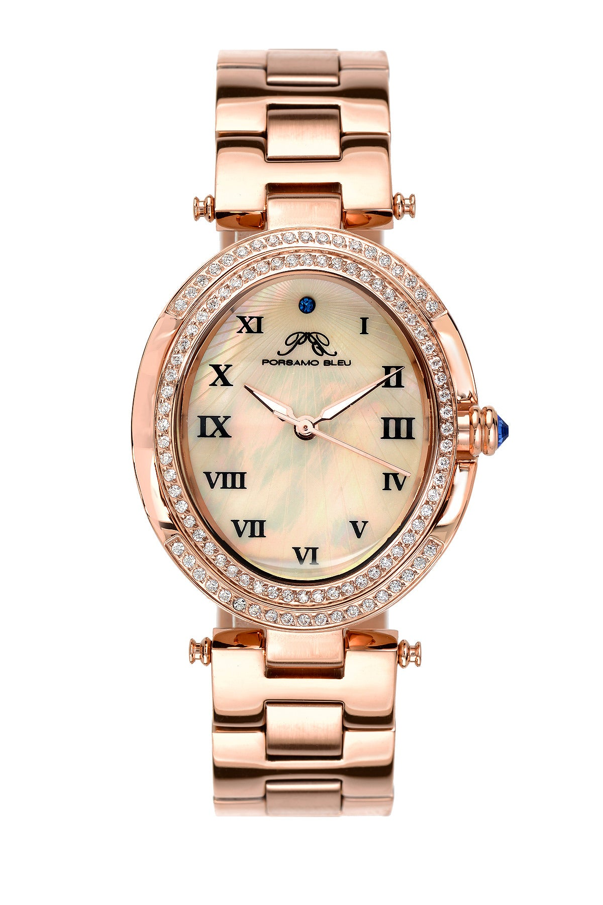 Porsamo Bleu South Sea Oval Crystal luxury women's stainless steel watch, rose 106ASSO