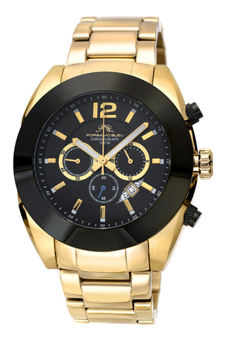 Porsamo Bleu Pascal luxury chronograph men's stainless steel watch, gold, black 262APAS