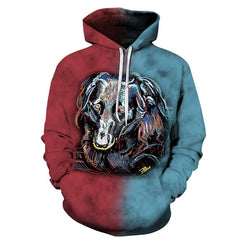 Colorful Mens Pullover Dog Print Hoodie