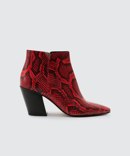 ADEN BOOTIES IN RED SNAKE -   Dolce Vita