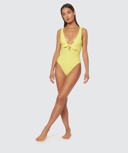 DAY GLOW FLOPPY TIE ONE PIECE IN ACID YELLOW -   Dolce Vita