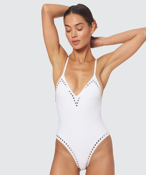 STELLAR STUDDED TRIANGLE X BACK ONE PIECE IN WHITE -   Dolce Vita