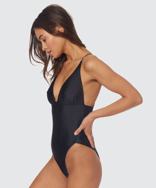 TRAIL BLAZER HIGH LEG ONE PIECE IN BLACK -   Dolce Vita