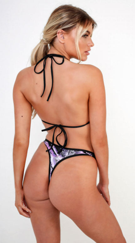 Reversible Touché Thong Bottom, Roc Print/Mist