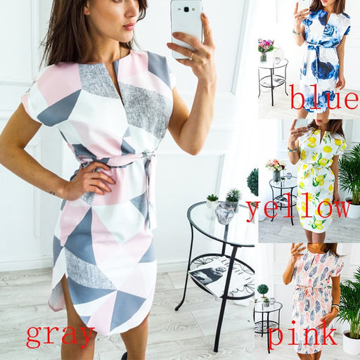 V-neck Slim Tunic Dress Short Sleeve Leisure Printing Irregular Dress