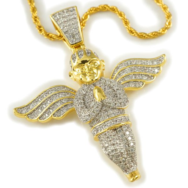 Diamond Gold Angel Pendant