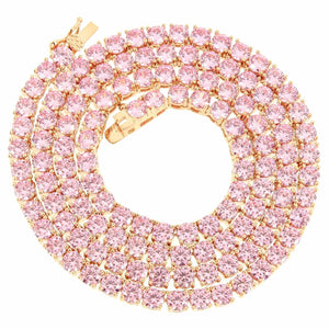 Iced Tennis Necklace Pink 1 Row 5mm