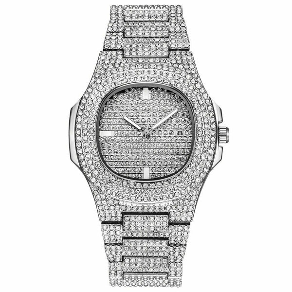 Shiny Square Iced Silver Watch