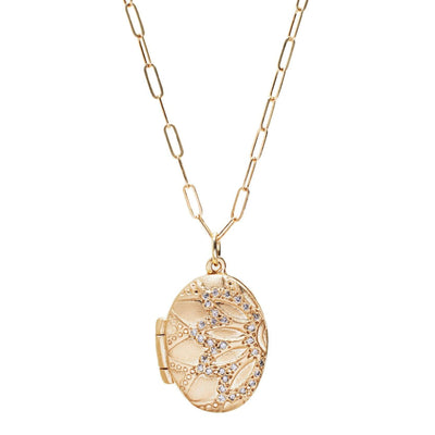 10KT Gold and Diamond Locket - Children's Birthstone Necklace For Moms