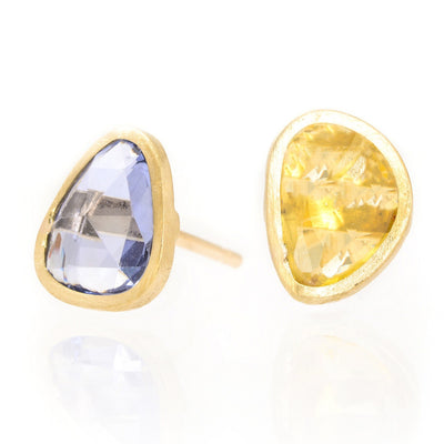 Sapphire Slice  - Handcrafted Gold Earrings
