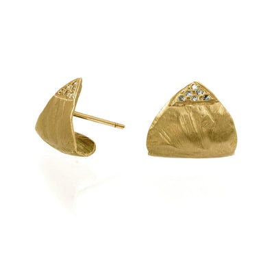 Lobe Cuff Gold Earrings - Handmade