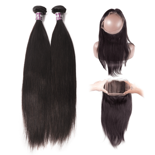 2 Bundles Of Brazilian Straight Hair With 360 Frontal - Beautiful Inches