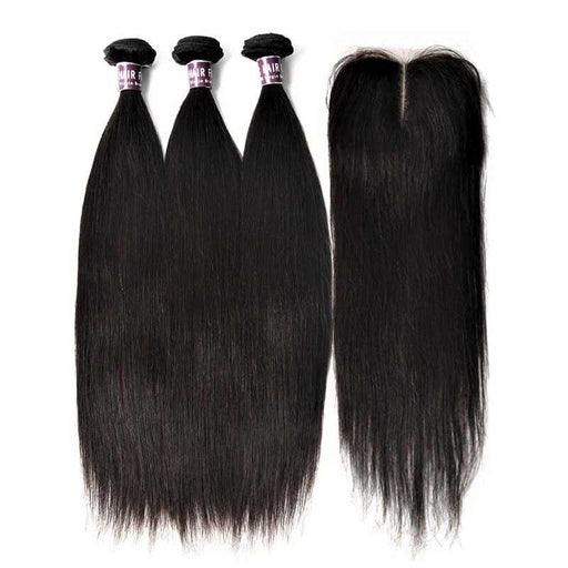 3 Bundles Of Indian Straight Hair With Lace Closure (Natural Black) - Beautiful Inches