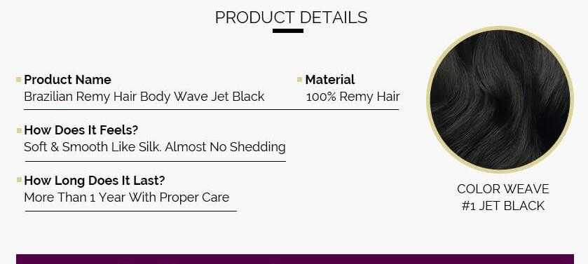 Indian Remy Body Wave Jet Black - Beautiful Inches