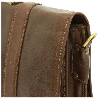 Briefcase with shoulder strap - Dark Brown - Italian Calfskin Leather