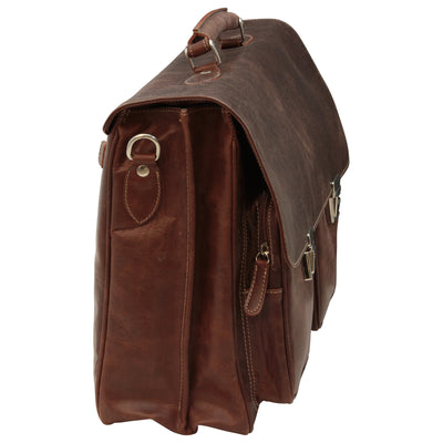Briefcase - Two Clasp Close - Brown - Italian Buffalo Leather