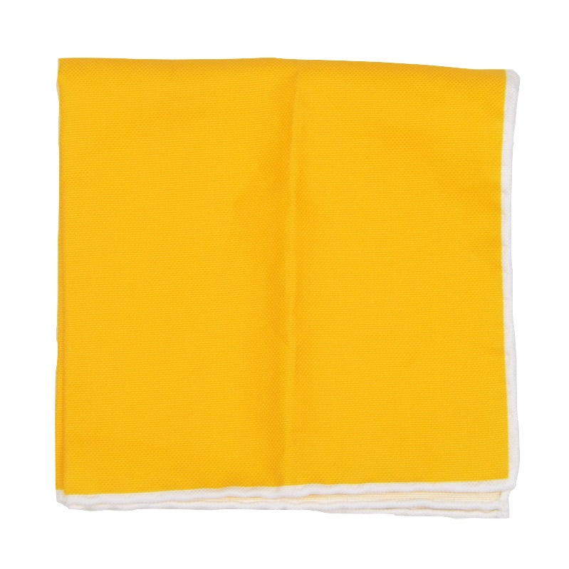 Hemley Handrolled Cotton Pocket Square - Yellow