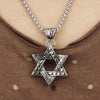 Stainless Steel Paisley Detailed Six-Point Star Pendant Necklaces