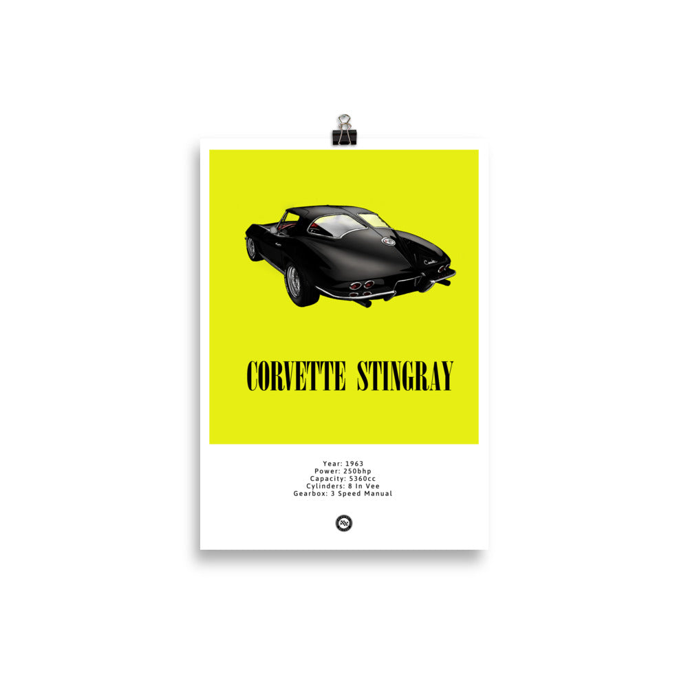 Corvette Stingray Original Poster Yellow Poster