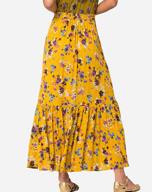 Marseille Button Down Maxi Skirt in Mustard Plum