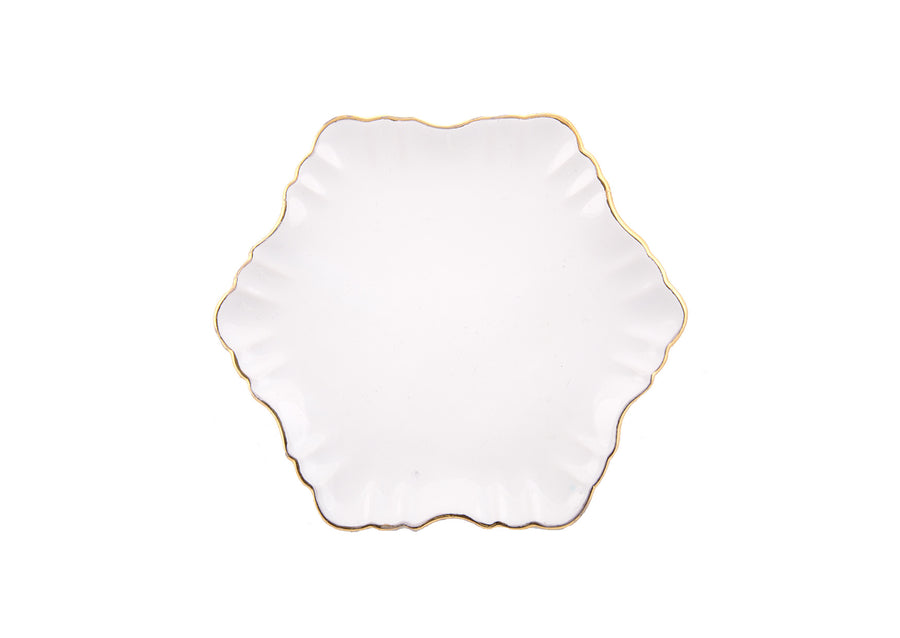 Cloud Cake Plate Round Gold-White