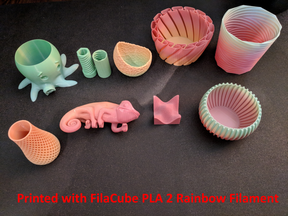 1.75mm 1KG Rainbow FilaCube 3D Printer PLA 2 filament transition gradient multiple color multicolor splendid