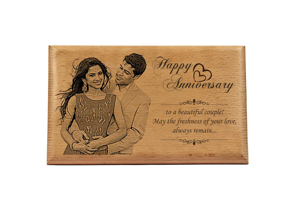 Wooden engraved photo Anniversary BWP 5x7 inch
