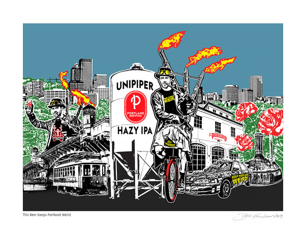 Unipiper Beer Art Print - This Beer Keeps Portland Weird